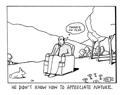 Chair Drawing - He Didn't Know How To Appreciate Nature by Bruce Eric Kaplan