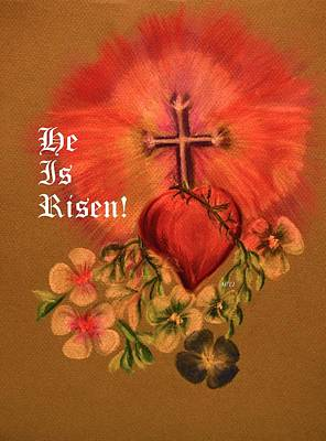 Pastel - He Is Risen Greeting Card by Maria Urso