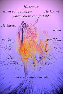 He Knows When You Have Carrots  Art Print by Hilde Widerberg