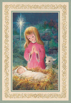 He Lay In A Manger Gouache Art Print