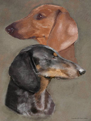 Dachshund Digital Art - He Said She Said by Maryle Malloy