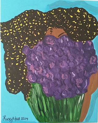 Black Kinky Hair Painting - He Sent Me Violets by Lucky Hall