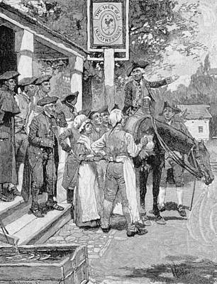 He Stops At The Sign Of The Weathervane, Illustration From Tilighmans Ride From Yorktown, Pub Art Print by Howard Pyle