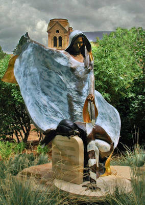 Photograph - He Who Fights With A Feather Statute In Santa Fe by Ginger Wakem