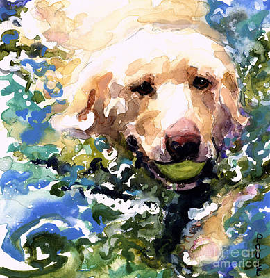 Yellow Labrador Retriever Painting - Head Above Water by Molly Poole