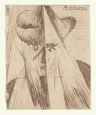 Umberto Drawing - Head Against The Light The Artists by Umberto Boccioni