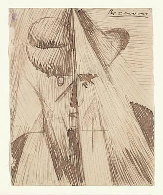 Umberto Boccioni Drawing - Head Against The Light The Artists by Umberto Boccioni