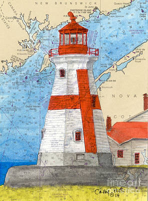 East Quoddy Lighthouse Painting - Head Harbor E Quoddy Lighthouse Nb Canada Nautical Chart Art  by Cathy Peek