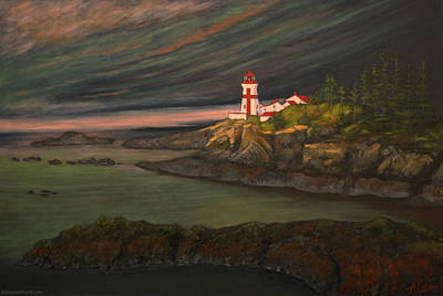 East Quoddy Lighthouse Painting - Head Harbour East Quoddy Light by Alison Barrett Kent