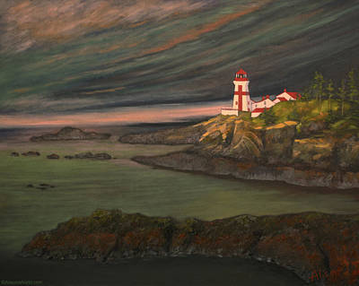 East Quoddy Lighthouse Painting - Head Harbour East Quoddy Light Close Crop by Alison Barrett Kent