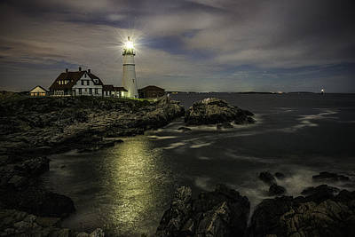 Photograph - Head Light By Night by Donald Brown