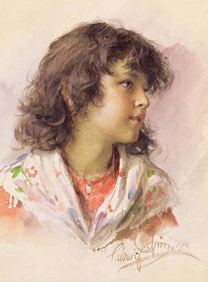 Youthful Painting - Head Of A Girl by Ludwig Passini