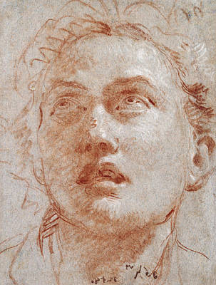 Visage Drawing - Head Of A Man Looking Up by Giovanni Battista Tiepolo