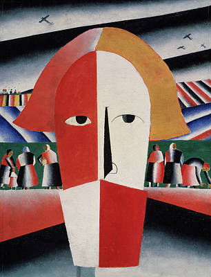 Worker Painting - Head Of A Peasant by Kazimir  Malevich