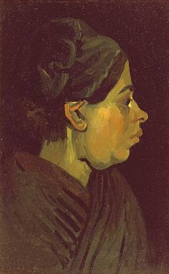 Post-impressionist Photograph - Head Of A Peasant Woman, C.1884 Oil On Canvas On Wood Panel by Vincent van Gogh