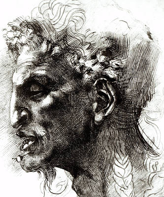 Michelangelo Drawing - Head Of A Satyr  by Michelangelo