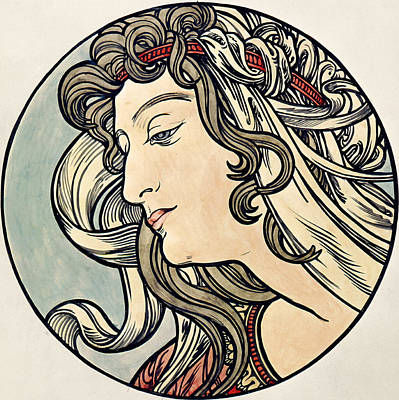 Belle Epoque Painting - Head Of A Woman by Alphonse Marie Mucha