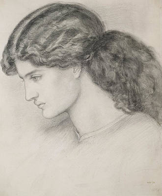 Study Drawing - Head Of A Woman by Dante Gabriel Charles Rossetti