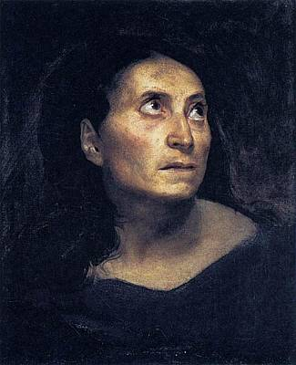 Head Of A Woman Print by Eugene Delacroix