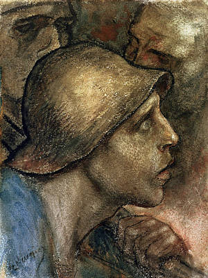 Person Drawing - Head Of A Worker by Constantin Emile Meunier