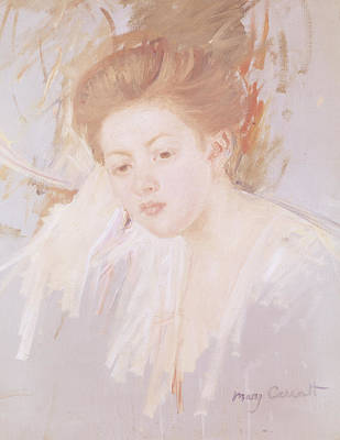 Impressionist Photograph - Head Of A Young Girl Pastel On Paper by Mary Stevenson Cassatt