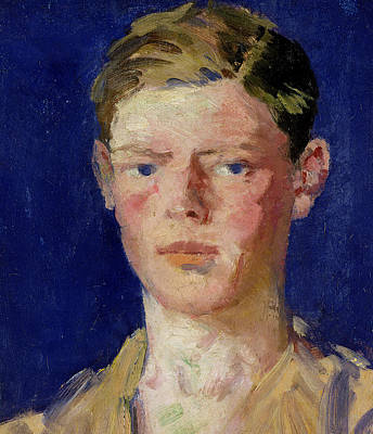 Pale Complexion Painting - Head Of A Young Man by Francis Campbell Boileau Cadell