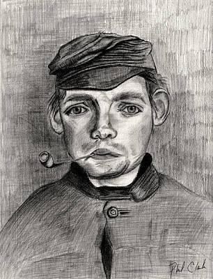 Phil Clark Drawing - Head Of A Young Man With A Pipe by Phil Clark