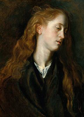Netherlands Painting - Head Of A Young Woman by Anthony van Dyck