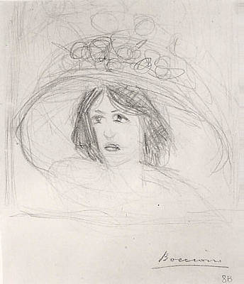 Umberto Boccioni Drawing - Head Of A Young Woman With A Large Hat by Umberto Boccioni