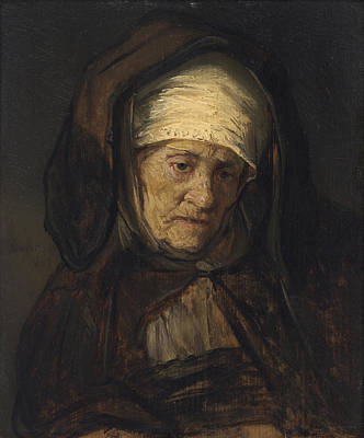 Sombre Painting - Head Of An Aged Woman by Rembrandt