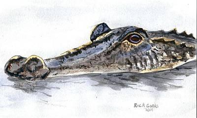 Louisiana Alligator Painting - Head Of An Alligator by Richard Goohs