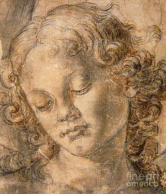 Etching Drawing - Head Of An Angel by Andrea del Verrocchio