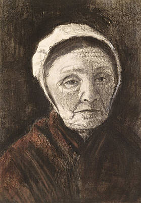 Flemish Drawing - Head Of An Old Woman In A Scheveninger by Vincent van Gogh