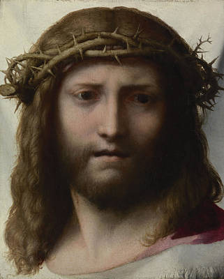 Ecce Homo Painting - Head Of Christ by Correggio