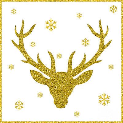Elk Wall Art - Digital Art - Head Of Deer With Big Horns. Trendy by Farferros