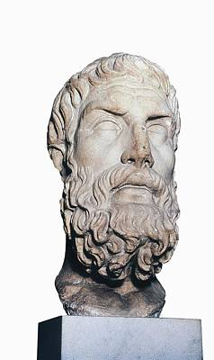 Statue Portrait Photograph - Head Of Epicurus. 1st Half 4th Bc by Everett