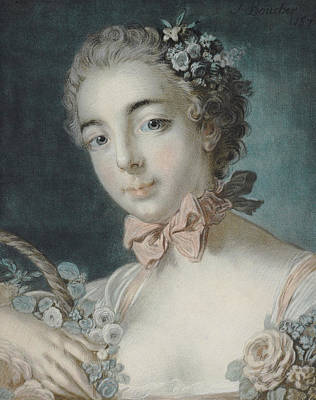 Boucher Pastel - Head Of Flora by Francois Boucher