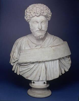 Marble Photograph - Head Of The Emperor Marcus Aurelius by Roman School