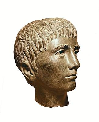 Head Of Young Boy. 3rd Bc. Etruscan Art Print by Everett