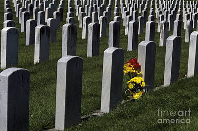Photograph - Head Stones At Cemetery With Flowers by Jim Corwin