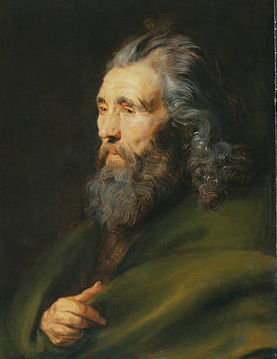 Wise Old Man Painting - Head Study Of A Bearded Man, C.1617 by Peter Paul Rubens