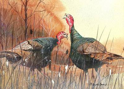Turkey Painting - Head To Head by Robert Yonke