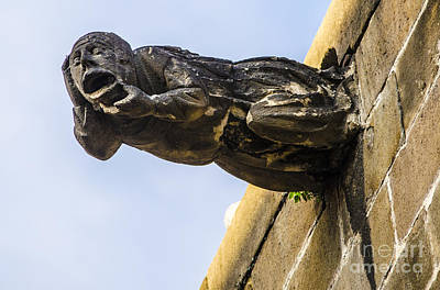 Statue Photograph - Head Twisting Gargoyle by Deborah Smolinske