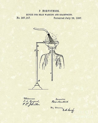 Drawing - Head Washer 1887 Patent Art by Prior Art Design