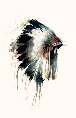 Indian Ink Painting - Headdress by Amy Hamilton