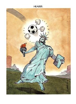 Soccer Drawing - Header by Barry Blitt