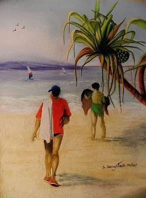 Heading For A Swim Print by Sandra Sengstock-Miller