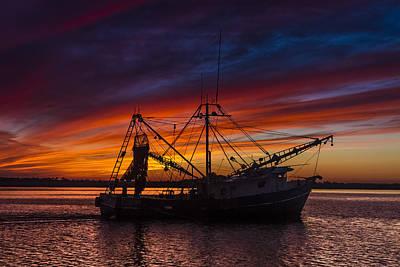 Shrimpboats Wall Art - Photograph - Heading Home by Debra and Dave Vanderlaan