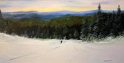 Ski Run Painting - Heading Home by Ken Ahlering