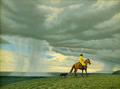 Horseman Painting - Heading Home by Paul Krapf